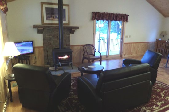 Stony Creek, NY: Living room in our 2 bedroom chalet (The Bear).