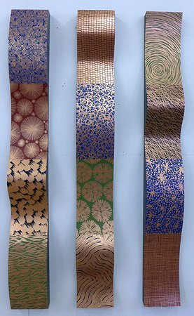 """Lenox, ماساتشوستس: Linda Leviton, """"Three Ribbons"""" - etched, patinaed and painted copper and wood"""
