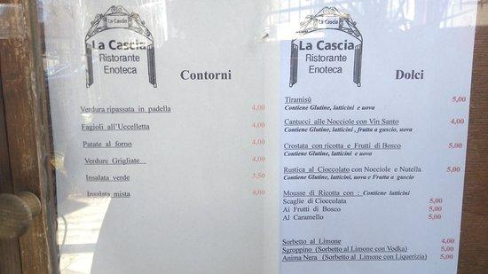 Montemerano, إيطاليا: Menu