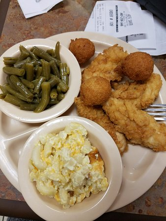 North Augusta, SC: Fried Chicken Strips, Hush Puppies. Green Beans, and Mac and Cheese!