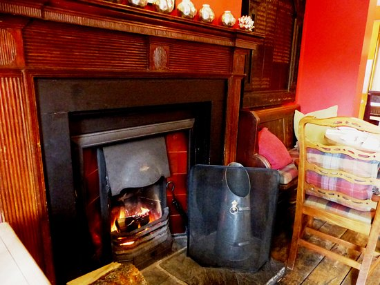 Helperby, UK: The cosy real fire in the pub interior