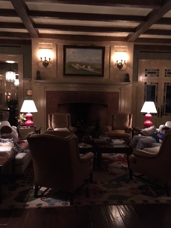 The Ryder Cup Bar at Ocean Course Clubhouse: Fireplace inside the club house