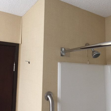Quality Inn: Peeling wallpaper at shower and above door