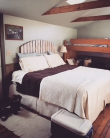 Sparta, WI: King size bed in the Cottage
