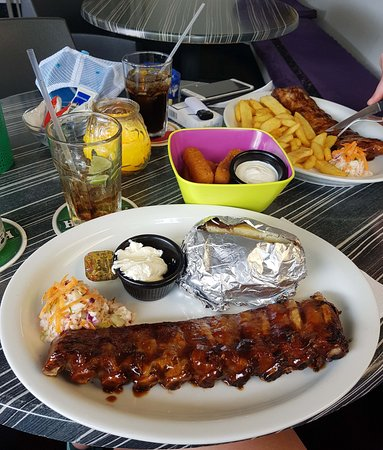 The Ribs Factory: Half slab with baked potato