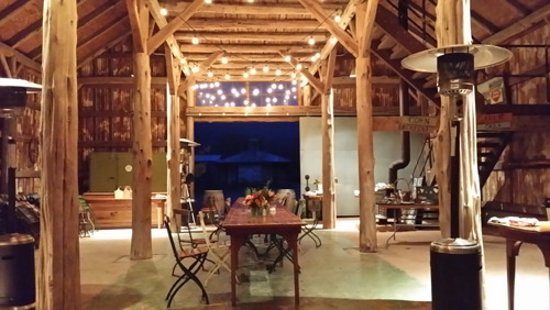 Montesino Ranch: Beautiful Pole Barn interior with large dining table, can seat 30+