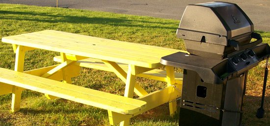 New Glasgow, Canada: BBQ and picnic tables for guest's.