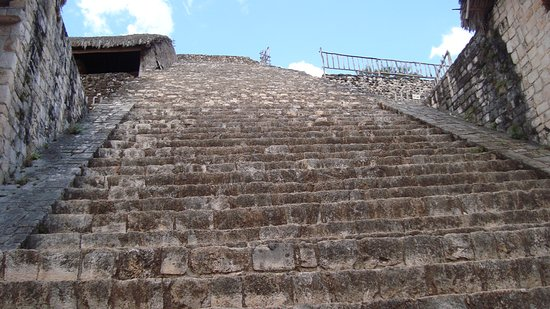Mayanpage Tours & Transfers: Steps to top of Ek Balam temple