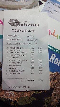 La Taberna: Y un precio muy razonable