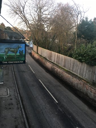 Letcombe Regis, UK: The view from my room onto the main road through the village