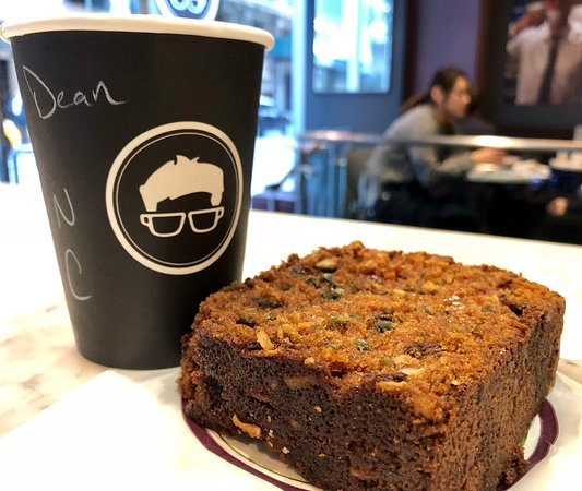 Divine carrot cake and cappuccino to start the day.