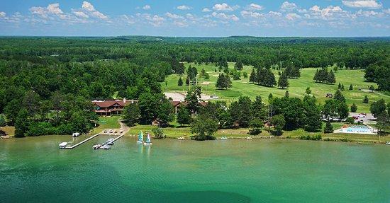 Cohasset, MN: Ariel shot of Sugar Lake Lodge!