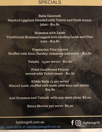 Pennant Hills, Australia: Byblos Grill - Specials menu