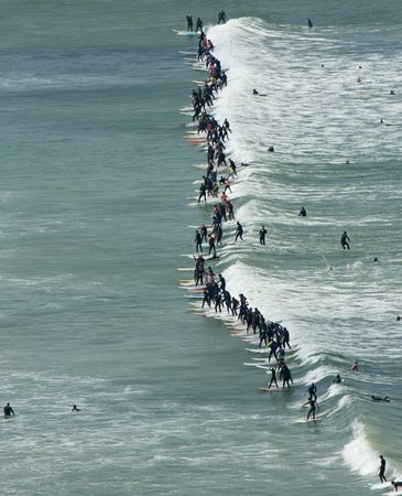 Lakeside, Sudáfrica: Surfing competition on Muizenberg Beach