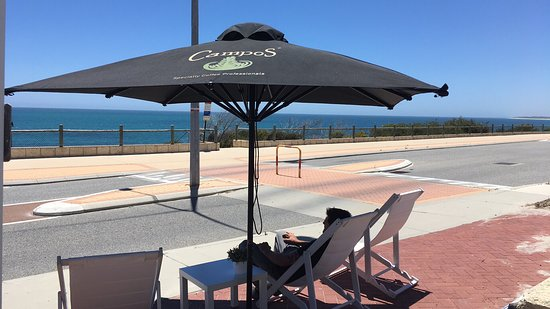 Deckchair and the view = Relaxing Time at Blue Vue Cafe, Quinns Rocks.