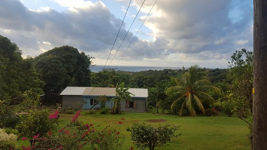 Crochu, Grenada: View from restaurant of the front lawn, fruit trees and hosts' house
