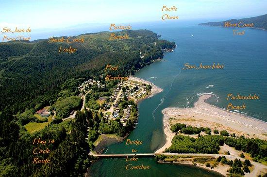 Soule Creek Lodge: Ariel View of Port Renfrew