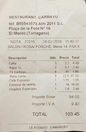 El Morell, Spain: Cuenta