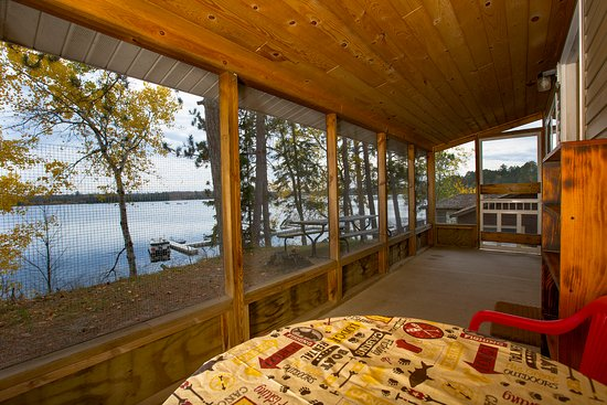 Deer River, MN: Beautiful view of Sand Lake from Cabin 1's porch.