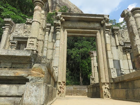 Yapahuwa, Sri Lanka: The stone entrance to the palace grounds at the top of the stone stairway.
