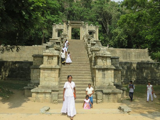 Yapahuwa, Sri Lanka: The third tier of the rock stairway with the intricate carvings including the Chinese style Lion