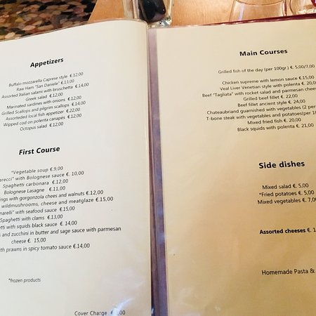 The Menu And Table Condiments Picture Of Ristorante Marco Polo - Table 24 menu