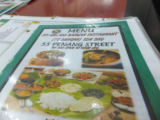 Sri Ananda Bahwan: Menu of the outlet in Lebuh Penang (Penang Street)