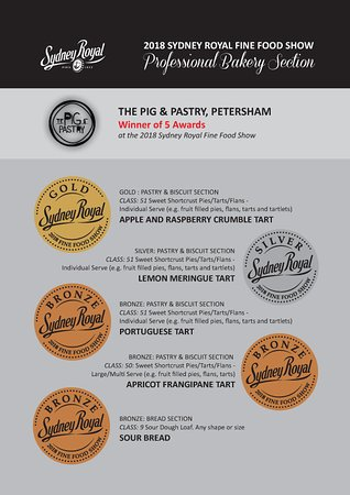 The Pig & Pastry, Petersham were winners of 5 Awards at the 2018 Sydney Royal Fine Food Show