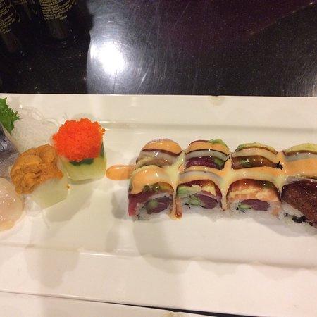 Momiji: Angel Roll, Uni, Scallop and Mackerel sashimi