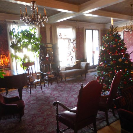 National Hotel: Holiday decor and veranda windows