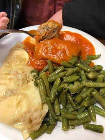 Forgotten Taste: Cabbage roll, pierogi, green bean plate