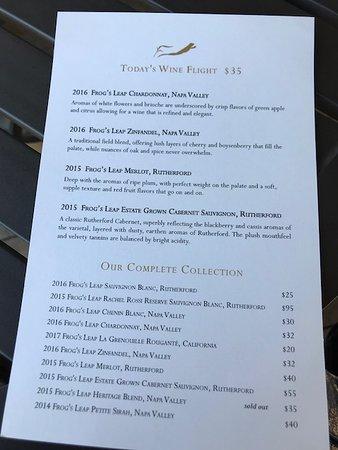 Резерфорд, Калифорния: Tasting menu.