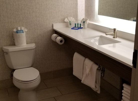 Holiday Inn Express Indianapolis Downtown City Centre: Very Pristine bathroom. Body Works amenities