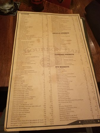 Whiskey bourbon menu picture of trapper 39 s fish camp for Fish camp menu