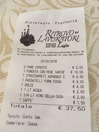 Prezzo e cibo ottimo - Foto di Ritrovo dei Lavoratori, San Marino ...