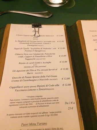 Menu Picture Of Scannabue Caffe Restaurant Turin