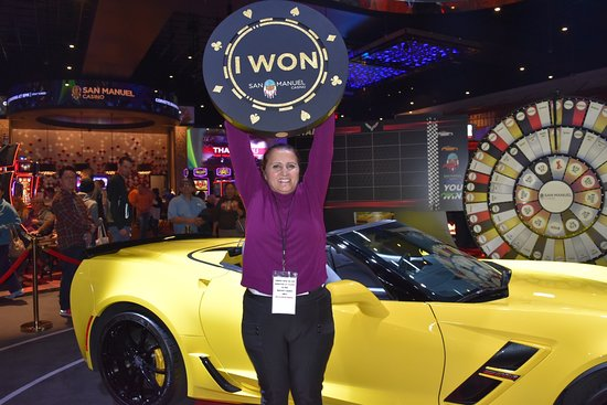 Highland, Kalifornien: Karine played hooky and won a Corvette Grand Sport Convertible at San Manuel Casino on March 1,