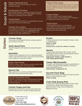 Pembroke, Canada: Westwinds Restaurant Menu- Soups/ Salads and Starters