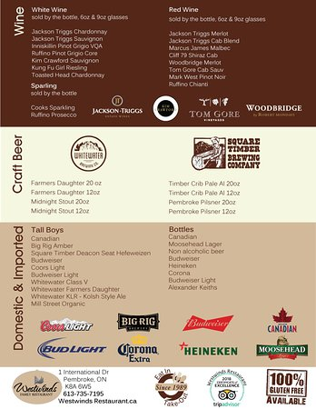 Pembroke, Canada: Westwinds Restaurant Menu- Wines, Craft and Domestic Beer