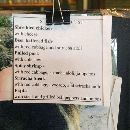 Fortuna, Californie : Street taco menu