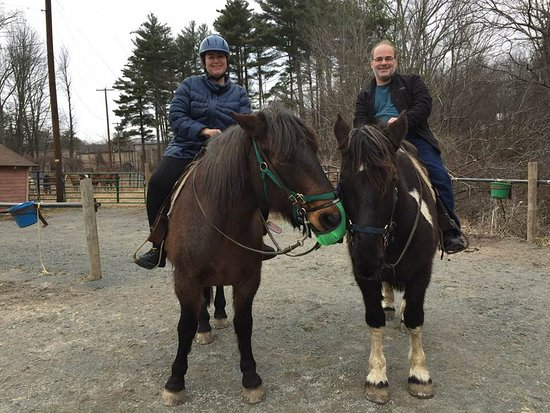 Cresco, PA: Amada and Damon riding Denver and Colby