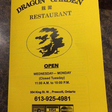 Prescott, Kanada: Take out menu