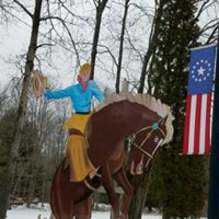 Stanhope, NJ: Cowboy on bronco
