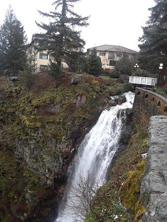 كولومبيا كليف فيلاز هوتل: Water fall. Villa in background.