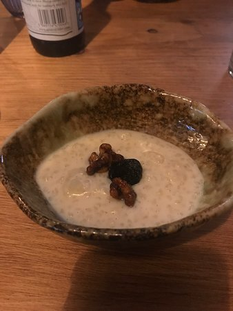 Clearwell, UK: Spiced rice pudding, whisky soaked prunes and caramelised walnuts