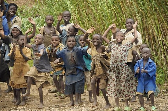 Northern Province, Rwanda: Island villagers dancing and singing happily