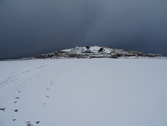 View Of Island From Other Side Across Snow Covered