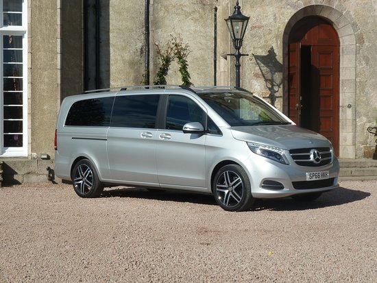 Dyce, UK: New Mercedes V-class luxury people carrier with 7 passenger seats.