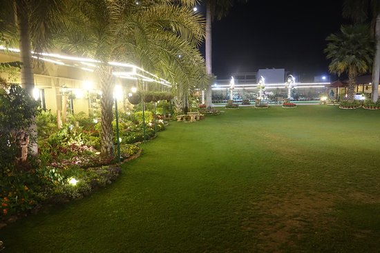 The grounds at night.
