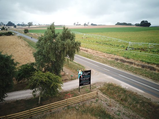 Barrington, Australia: View from the air of our main entrance and sign